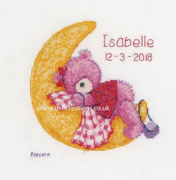 Brie Sleeping On The Moon Birth Sampler Cross Stitch Kit